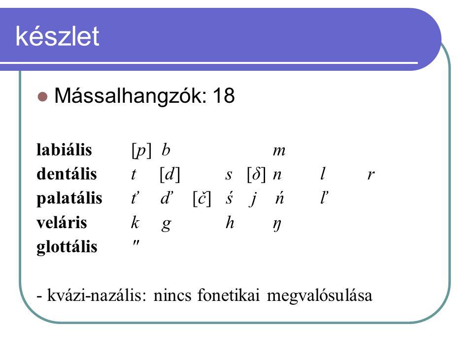 készlet Mássalhangzók: 18 labiális [p] b m dentális t [d] s [δ] n l r